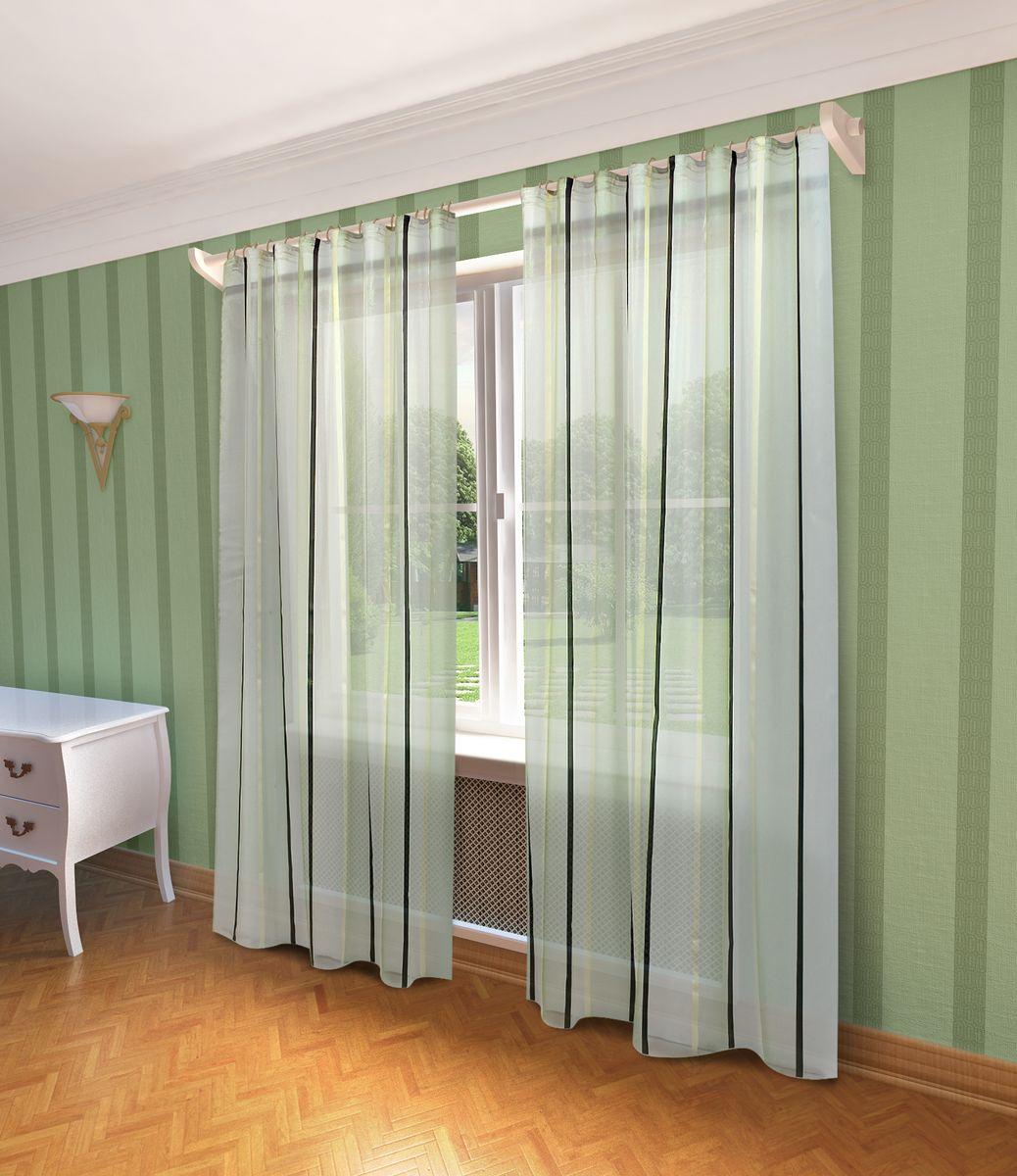Тюль Sanpa Home Collection Холли, на ленте, цвет: зеленый, высота 280 смHP10462/5/1E Холли зеленый, , 300*280 см
