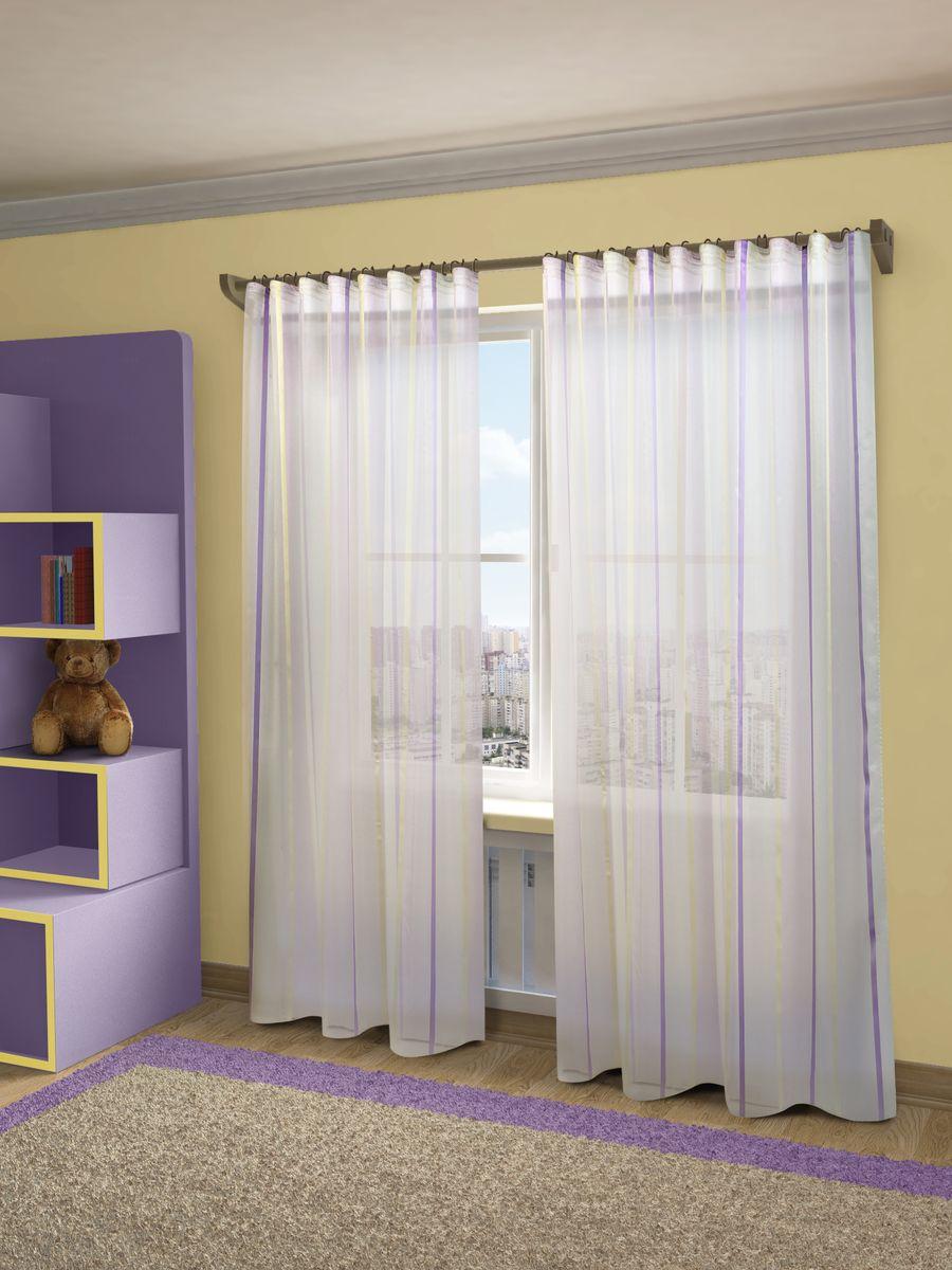 Тюль Sanpa Home Collection Холли, на ленте, цвет: сиреневый, высота 280 смHP10462/6/1E Холли сиреневый, , 300*280 см