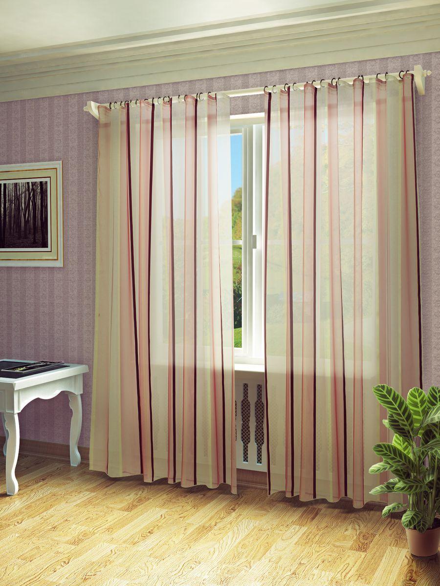 Тюль Sanpa Home Collection Холли, на ленте, цвет: бордовый, бежевый, высота 280 смHP10462/8/1E Холли бордово-бежевый, , 300*280 см