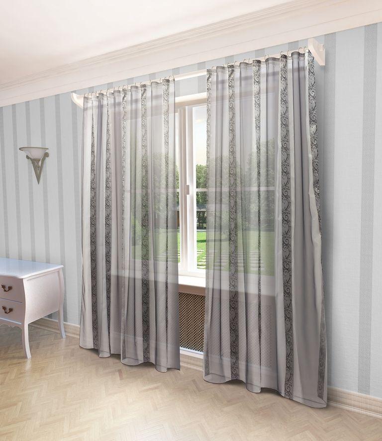 Тюль Sanpa Home Collection Бренда, на ленте, цвет: серый, высота 280 смHP70157/6/1E Бренда серый, , 300*280 см