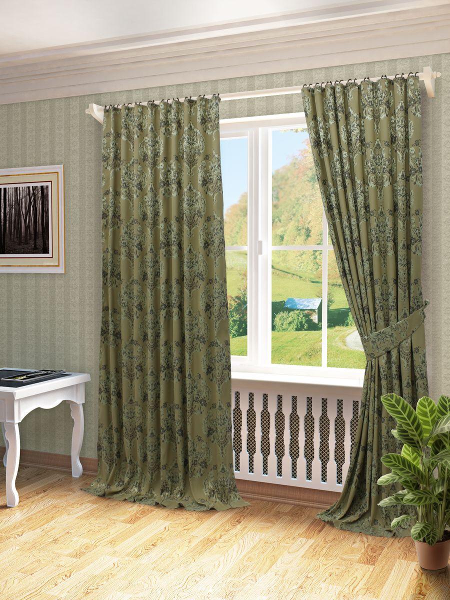 Комплект штор Sanpa Home Collection Лесли, на ленте, цвет: зеленый, высота 260 смКШЛЕСЛИ(3), шоп зеленый шторы, , 170*270см-2шт+подхваты
