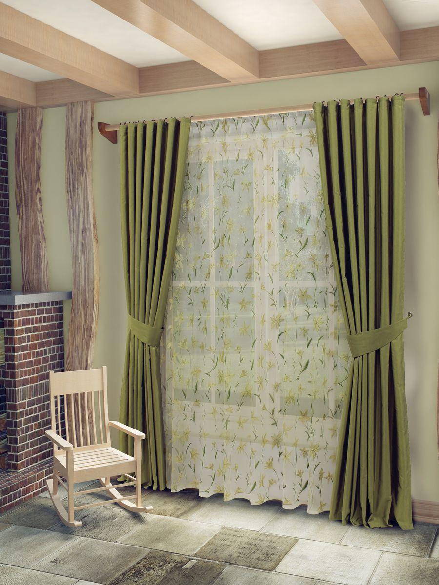 Комплект штор Sanpa Home Collection Лили, на ленте, цвет: зеленый, высота 260 смКШЛИЛИ(25), зеленый шторы, , 170*260/400*260см+п