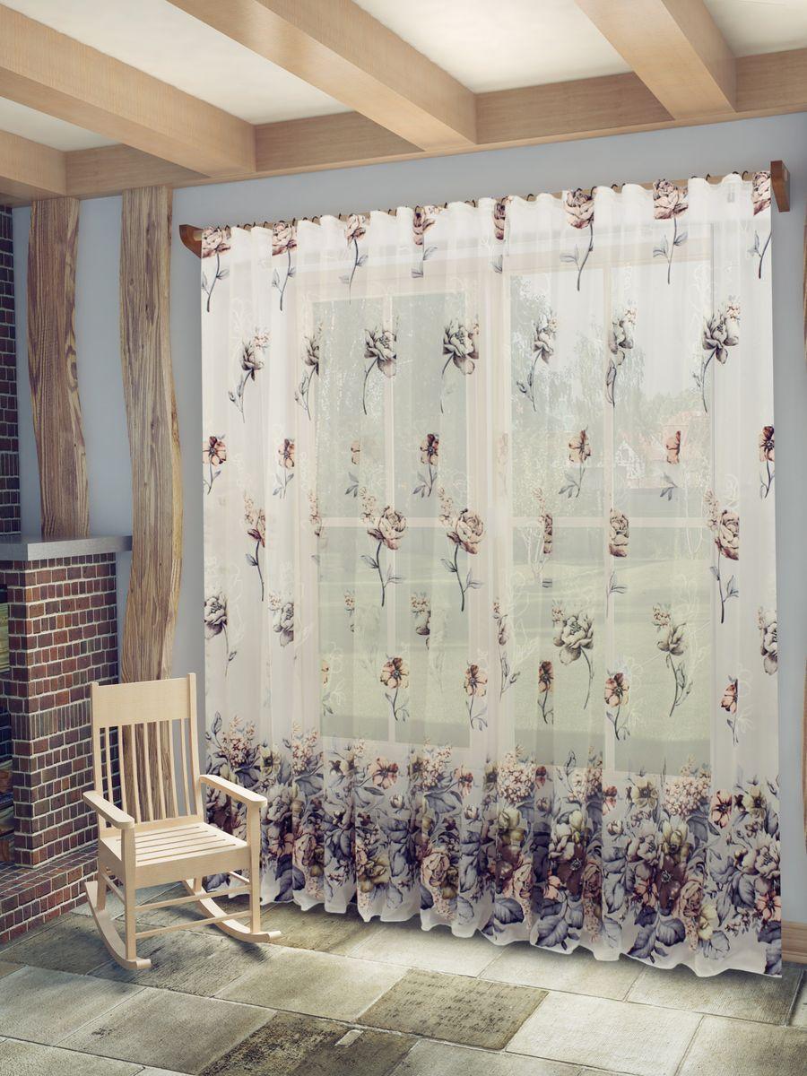 Тюль Sanpa Home Collection Кэтрин, на ленте, цвет: серо-розовый, высота 260 смHP13056/13/1E Кэтрин серо-розовый, , 300*260 см