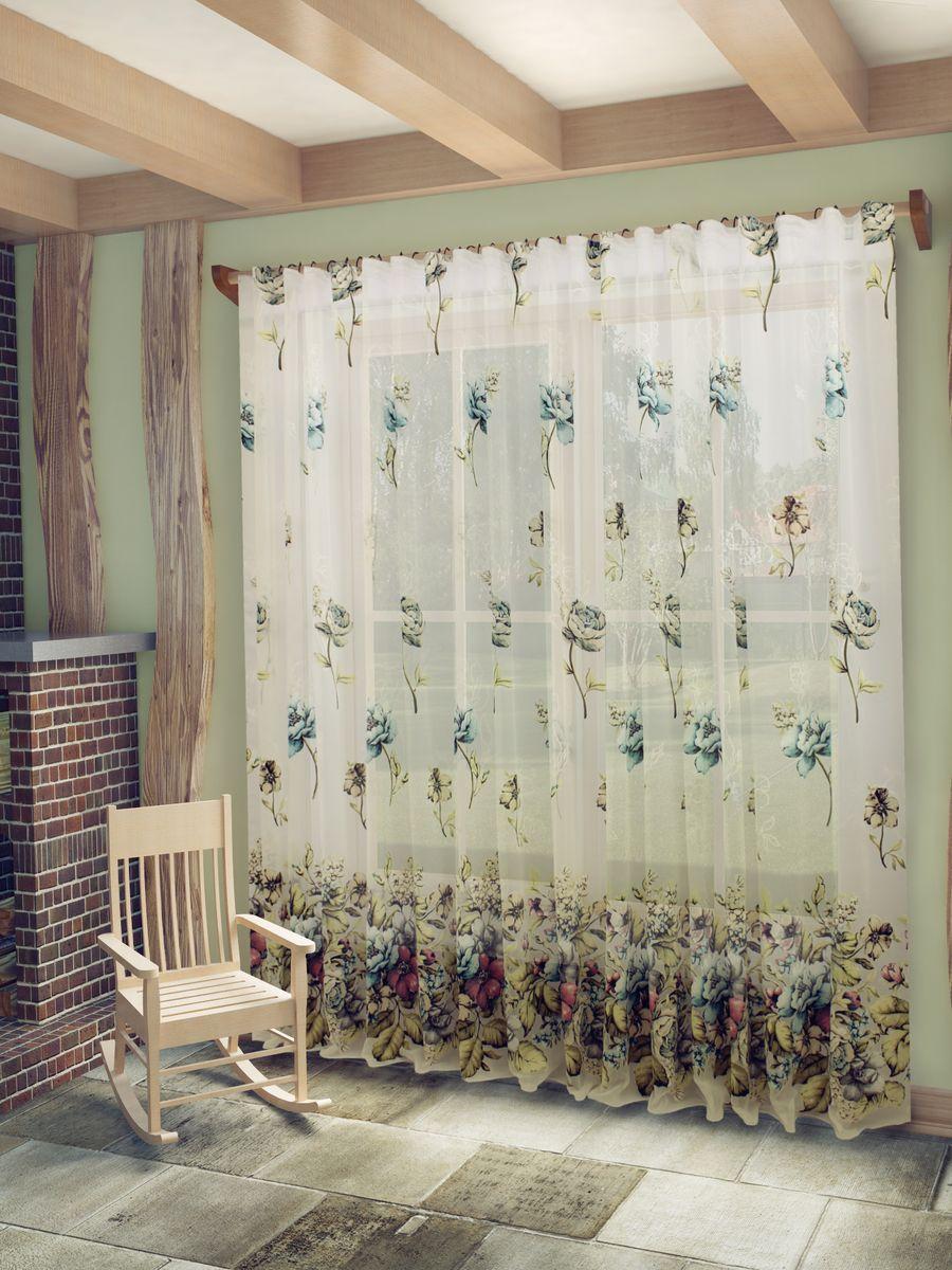 Тюль Sanpa Home Collection Кэтрин, на ленте, цвет: бирюзовый, высота 260 смHP13056/18/1E Кэтрин бирюзов, , 300*260 см