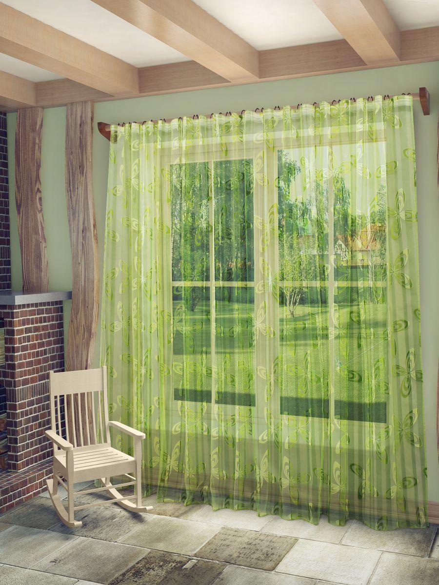 Тюль Sanpa Home Collection Кимми, на ленте, цвет: зеленый, высота 260 смHP6061/7/1E Кимми зеленый, , 300*260 см