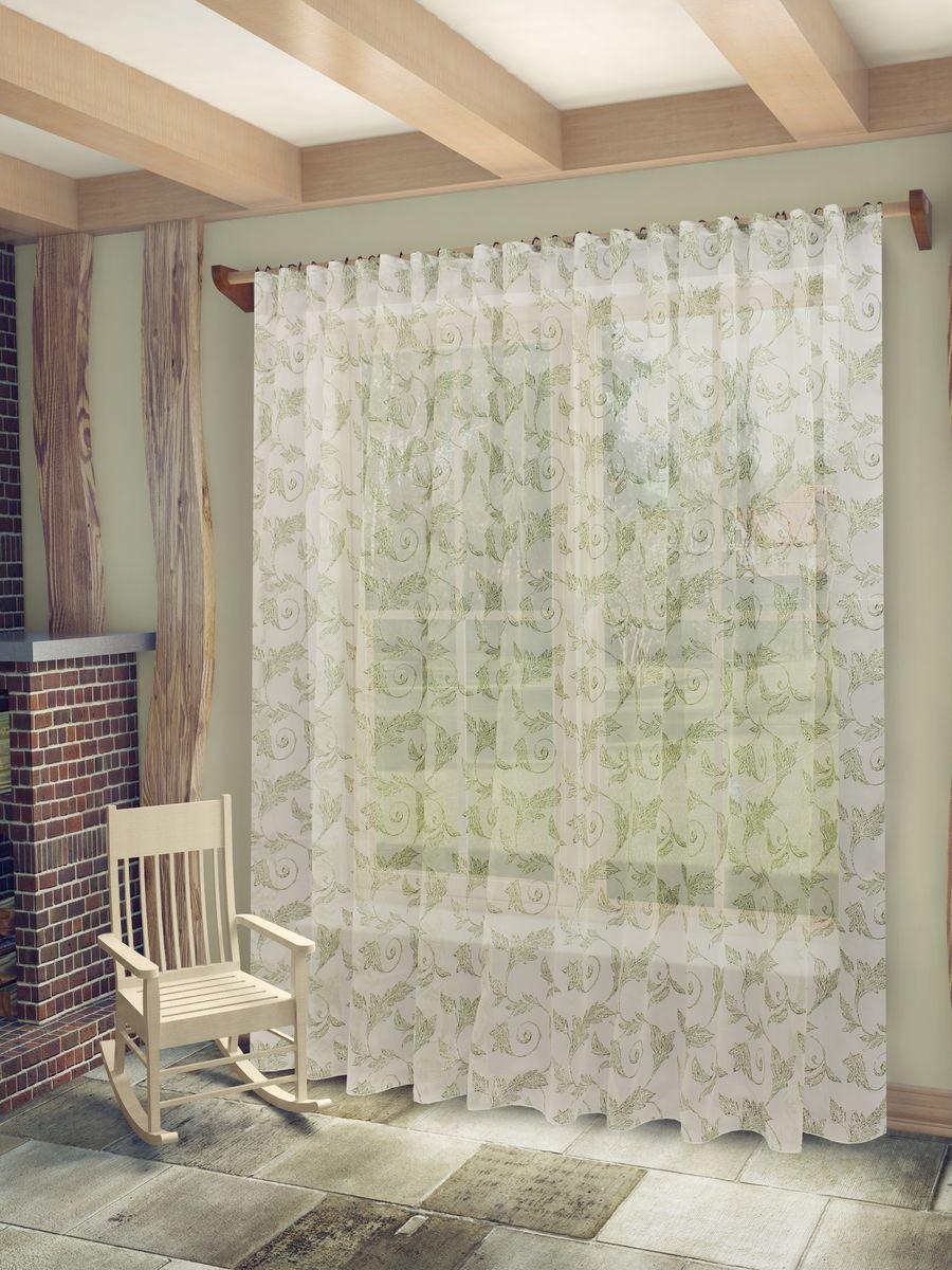 Тюль Sanpa Home Collection Изабелла, на ленте, цвет: зеленый, высота 260 смHP2084/8/1E ИЗАБЕЛЛА зеленый, , 300*260 см