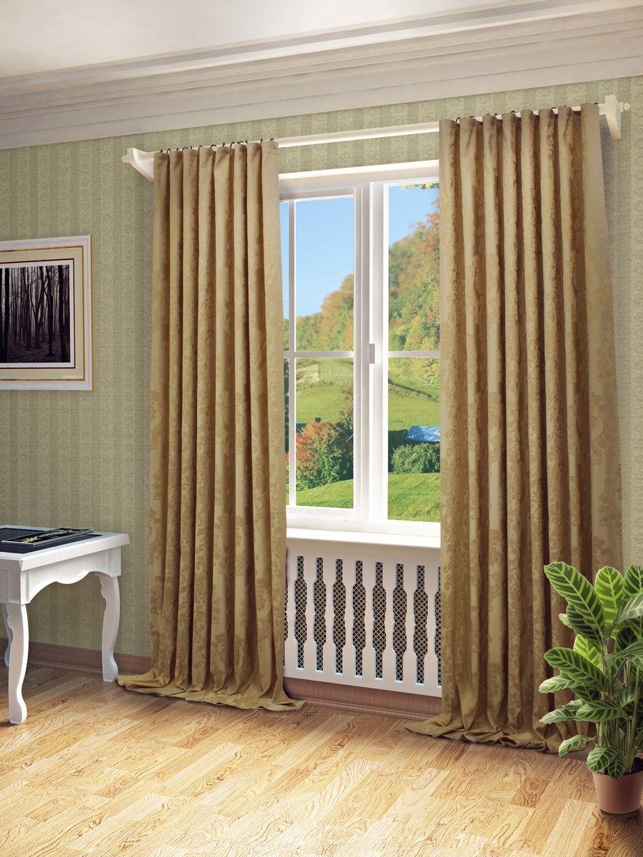 Штора Sanpa Home Collection Лаура, на ленте, цвет: светло-бежевый, высота 280 смHP81541/6/1Е Лаура светло-бежевый, , 200*280 см