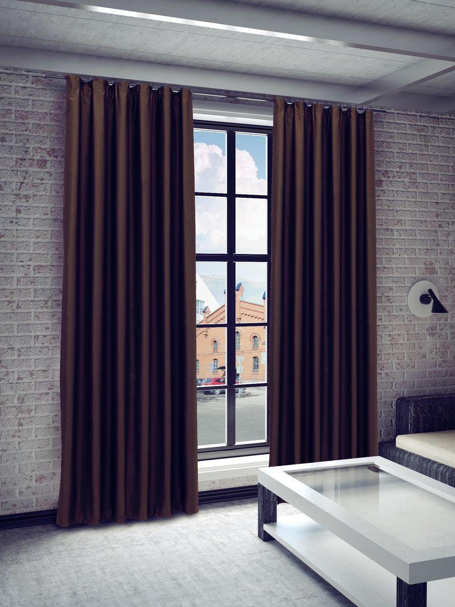 Штора Sanpa Home Collection Габриэла, на ленте, цвет: коричневый, высота 260 смHP8218/19/1E Габриэла коричневый, , 150*260 см