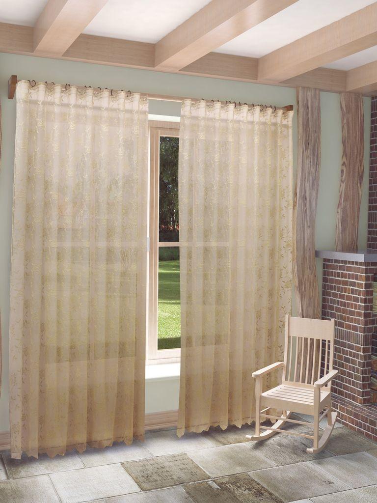 Тюль Sanpa Home Collection Рина, на ленте, цвет: темно-бежевый, высота 280 смHP101/3/1Е Рина темно-бежевый, , 300*280 см