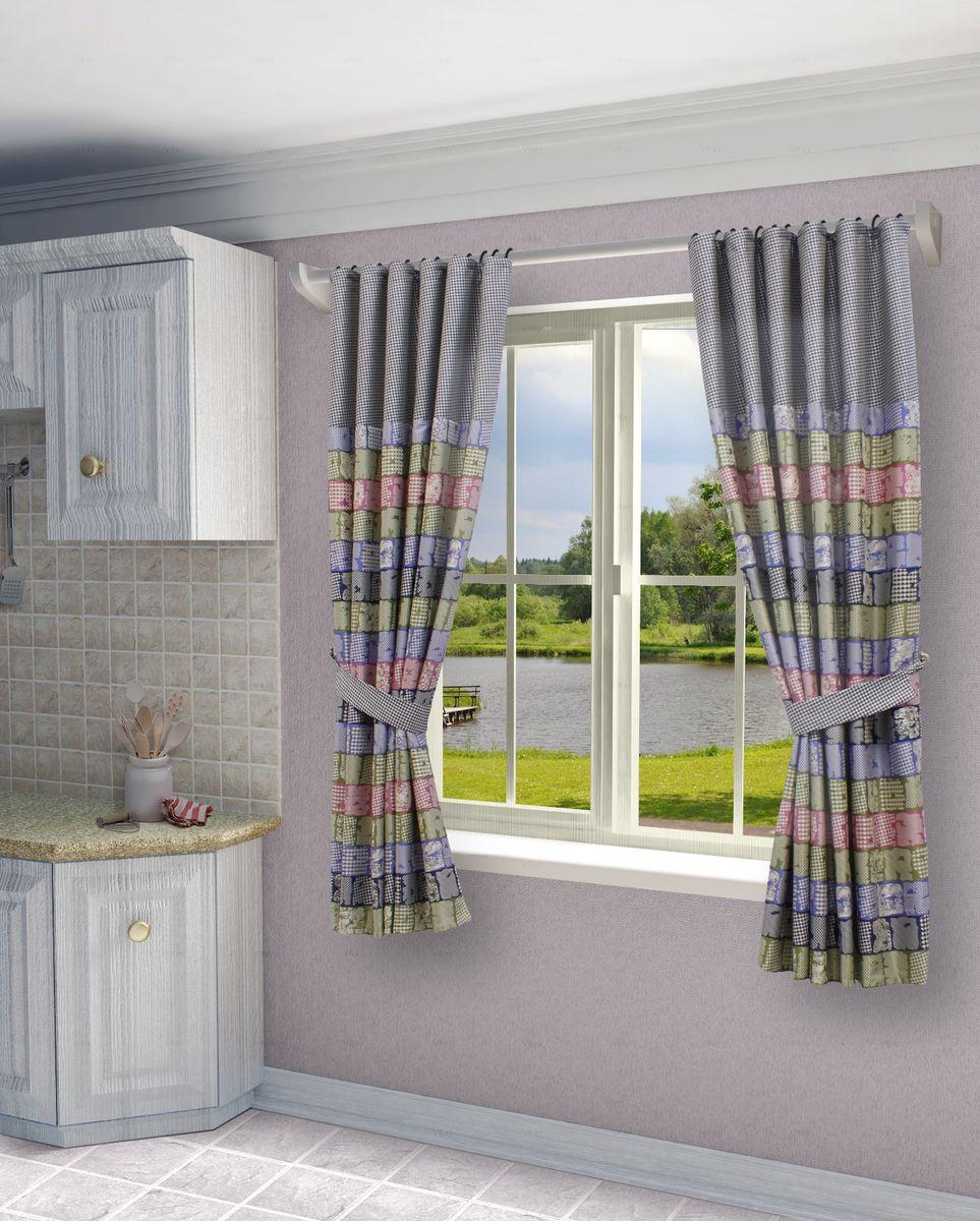 Комплект штор Sanpa Home Collection Джемма, на ленте, цвет: розовый, синий, высота 180 смКШДЖЕММА(1) розово-синий, , 145*180 +подхваты