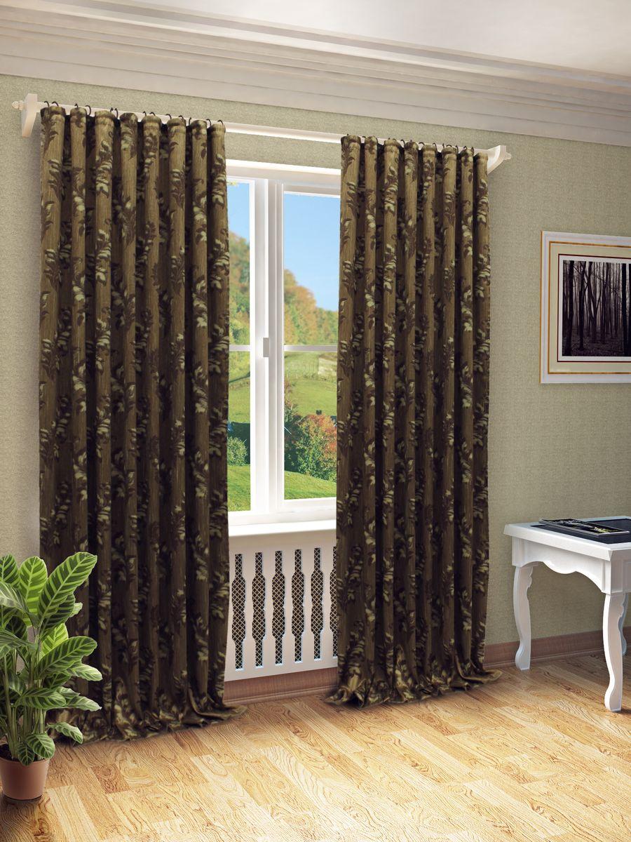 Штора Sanpa Home Collection Лейла, на ленте, цвет: коричневый, высота 270 смHP10367/1/1E Лейла коричневый, , 200*270 см