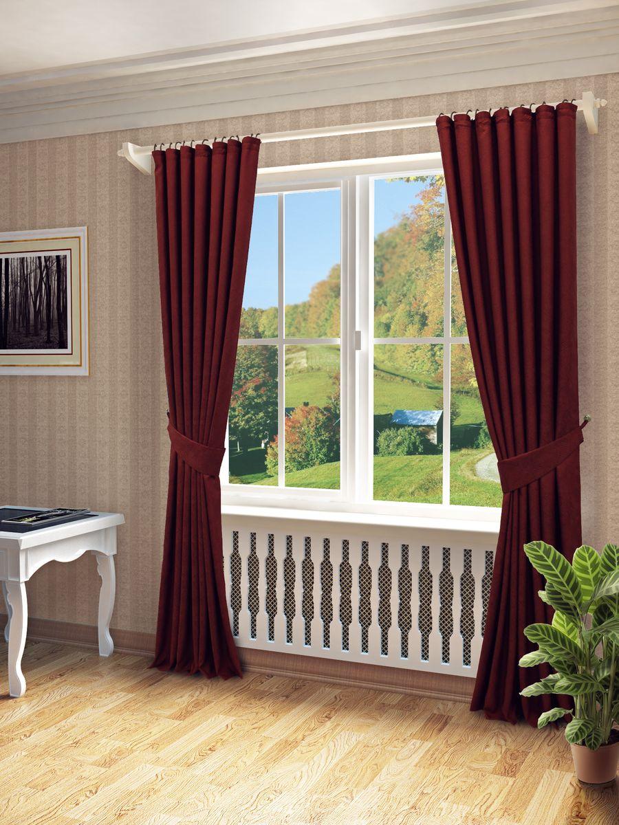 Комплект штор Sanpa Home Collection Элси, на ленте, цвет: бордовый, высота 260 смКШЭЛСИ, бордовый, , 170*260см-2шт+подхваты