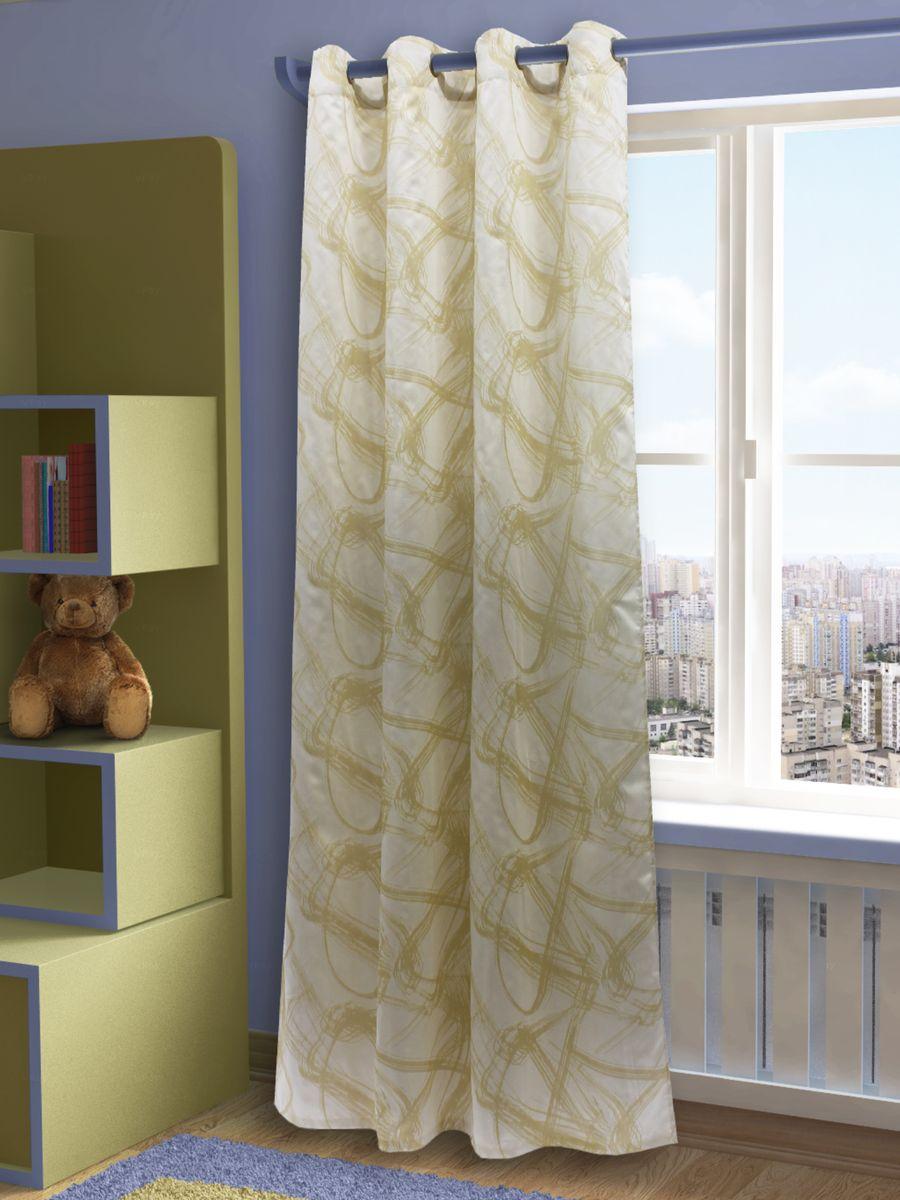 """Штора Sanpa Home Collection """"Талита"""", на люверсах, цвет: золотистый, высота 260 см"""