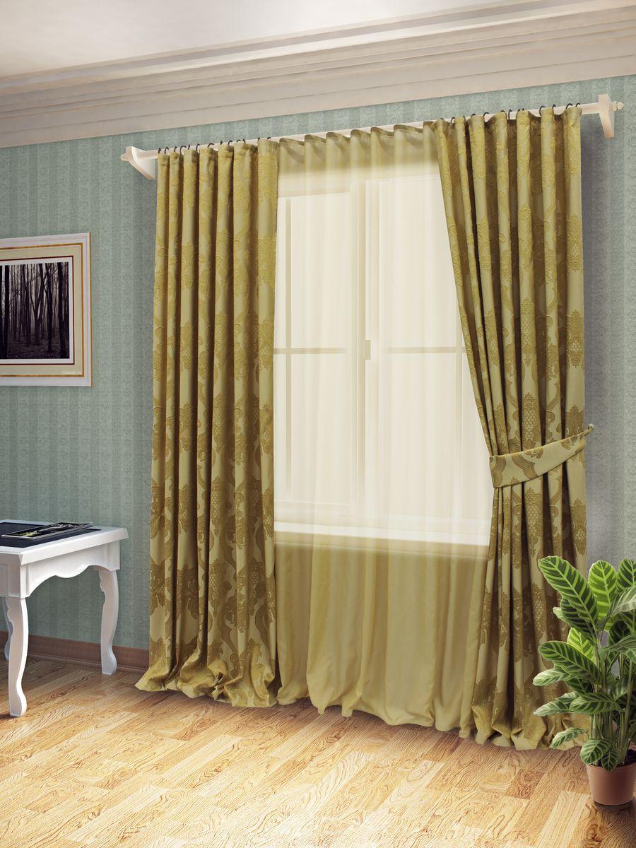 Комплект штор Sanpa Home Collection Лорейн, на ленте, цвет: золотистый, высота 260 смКШЛОРЕЙН(10), золотистый, , 170*260/400*260см+по