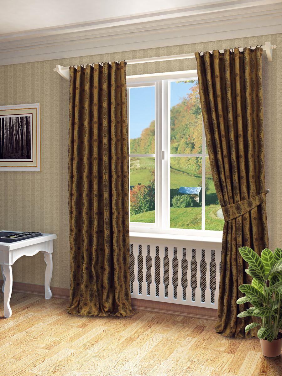 Комплект штор Sanpa Home Collection Вилма, на ленте, цвет: коричневый, высота 260 смКШВилма(149),коричневый, , 170*260см-2шт+подхватКомплект штор Вилма, выполненный из жаккарда, великолепно украсит любое окно. Комплект состоит из двух штор и двух подхватов. Оригинальный рисунок и приятная цветовая гамма привлекут к себе внимание и органично впишутся в интерьер помещения. Этот комплект будет долгое время радовать вас и вашу семью! В комплект входит: Штора: 2 шт. Размер (Ш х В): 170 см х 260 см. Подхват: 2 шт.