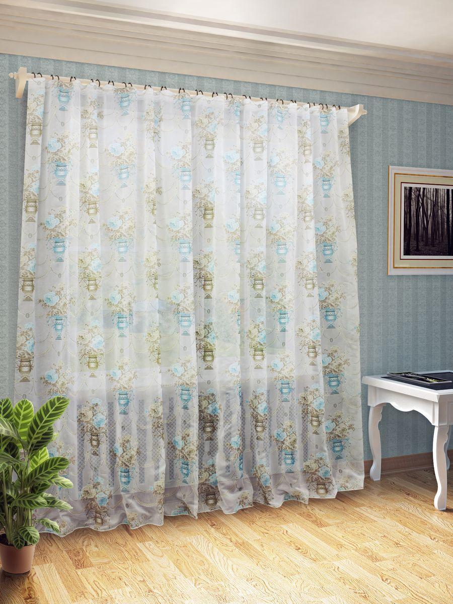 Тюль Sanpa Home Collection Айсун, на ленте, цвет: бежевый, бирюзовый, высота 260 смHP13053/7/1E Айсун беж-бирюз, , 400*260 см