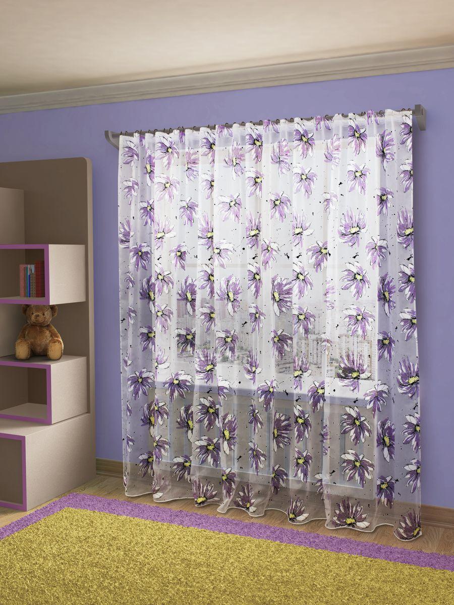 Тюль Sanpa Home Collection Эстела, на ленте, цвет: фиолетовый, высота 260 смHP9205/1/1E Эстела фиолет, , 400*260 см