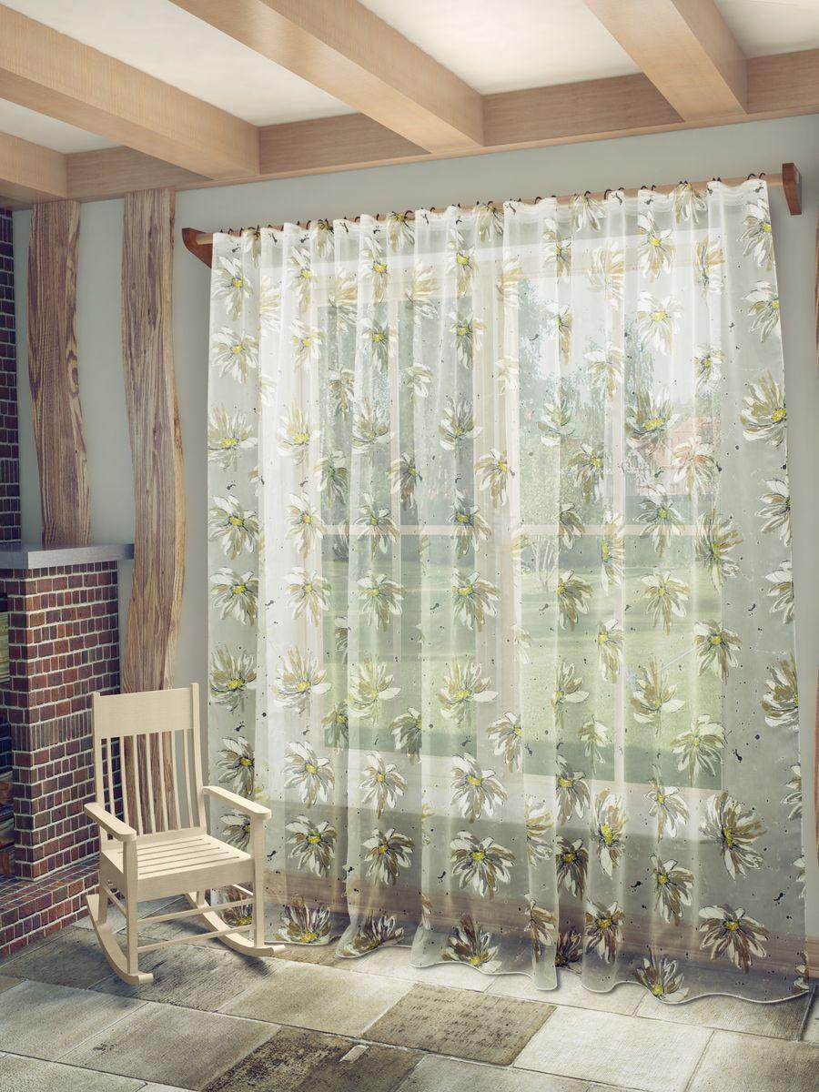 Тюль Sanpa Home Collection Эстела, на ленте, цвет: серо-бежевый, высота 260 смHP9205/15/1E Эстела серо-бежев, , 400*260 см