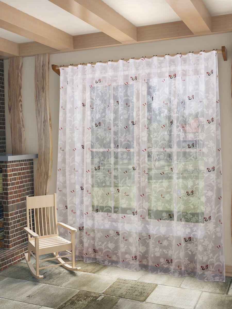 Тюль Sanpa Home Collection Батерфляй, на ленте, цвет: красный, высота 280 смHP7229/42/1E Батерфляй красный, , 300*280 см