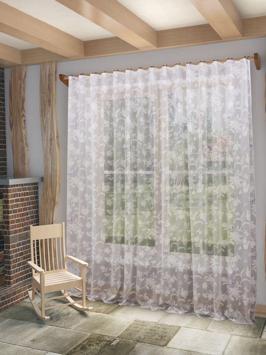 Тюль Sanpa Home Collection Батерфляй, на ленте, цвет: сиреневый, высота 280 смHP7229/48/1E Батерфляй сиреневый, , 300*280 см