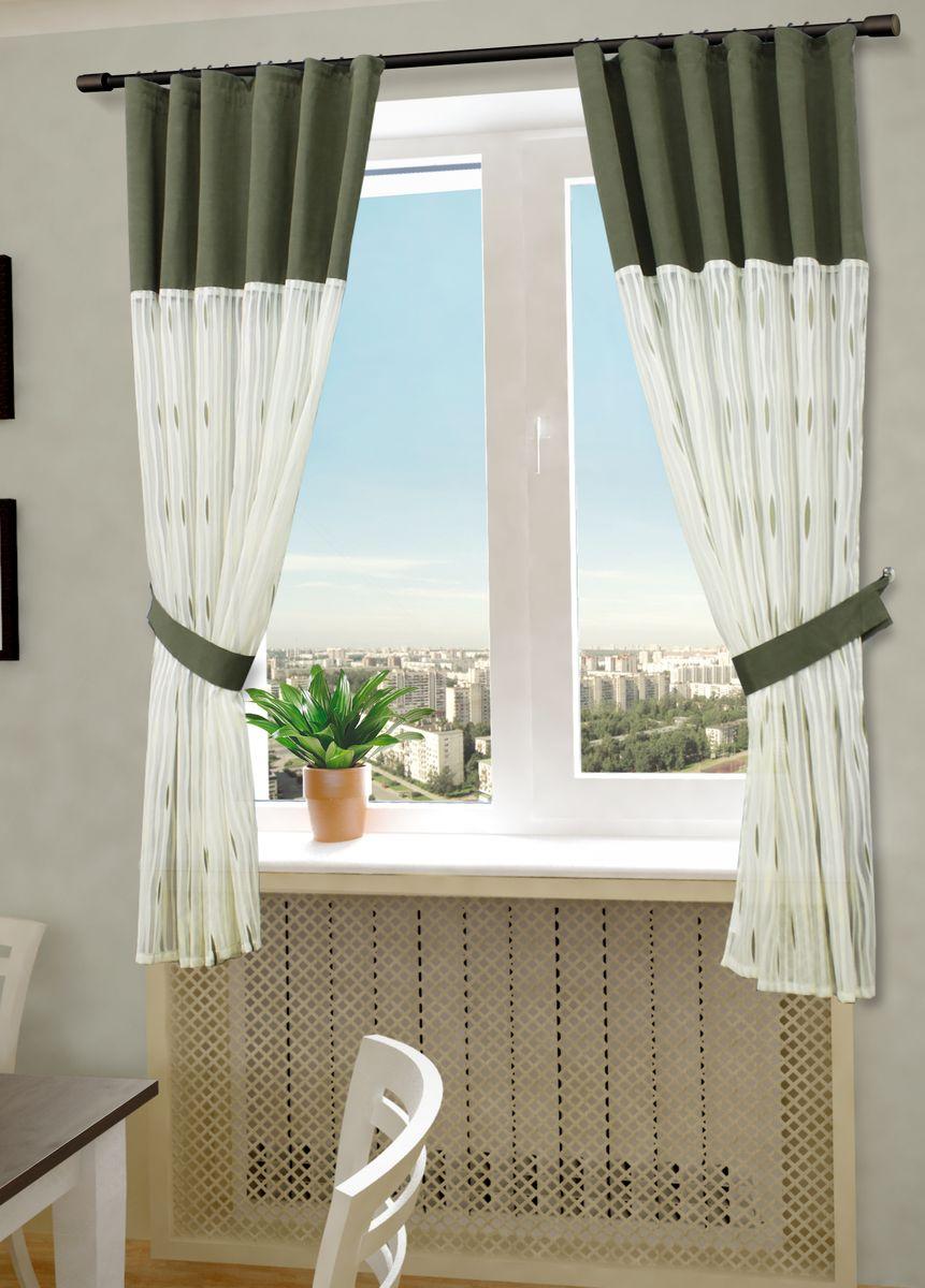 Комплект штор Sanpa Home Collection Делис, на ленте, цвет: бежевый, зеленый, высота 180 смКШДелис(2) беж-зеленый, , 145*180 +подхваты