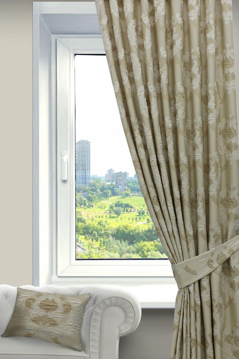 Штора Sanpa Home Collection Силвана, на ленте, цвет: бежевый, высота 260 смHP02552/102/1Е Силвана бежев, , 200*260-1шт+подхват