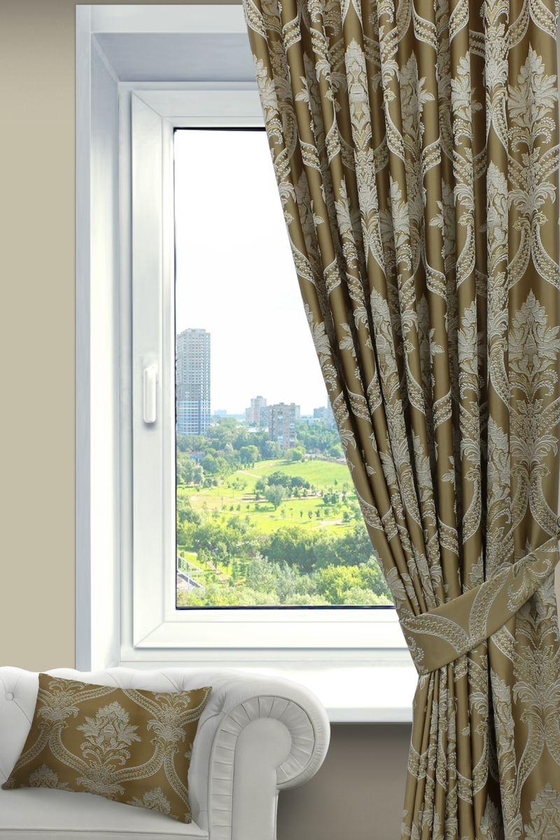 Штора Sanpa Home Collection Нанзия, на ленте, цвет: золотистый, высота 260 смHP02452/402/1Е Нанзия золотист, , 200*260-1шт+подхват