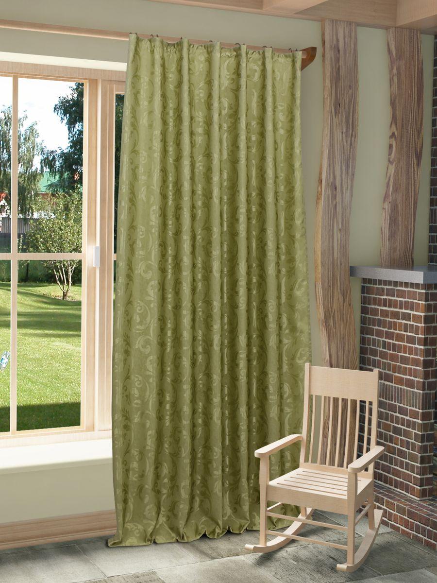 Штора Sanpa Home Collection Аурелия, на ленте, цвет: зеленый, высота 260 смHP11489/2/1Е Аурелия зеленый, , 170*260см -1шт+подхват
