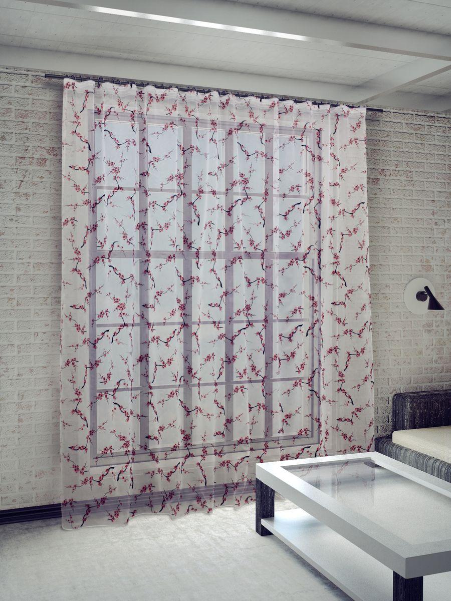 Тюль Sanpa Home Collection Сакура, на ленте, цвет: красный, высота 260 смHP8270/1/1E Сакура красный, , 300*260 см