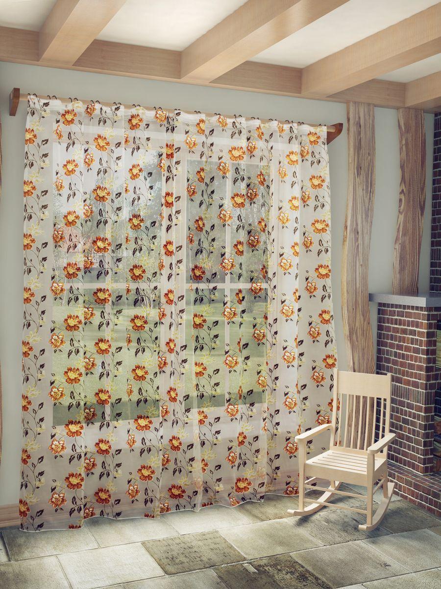 Тюль Sanpa Home Collection Амира, на ленте, цвет: терракотовый, высота 260 смHP8137/9/1E Амира терракот, , 300*260 см
