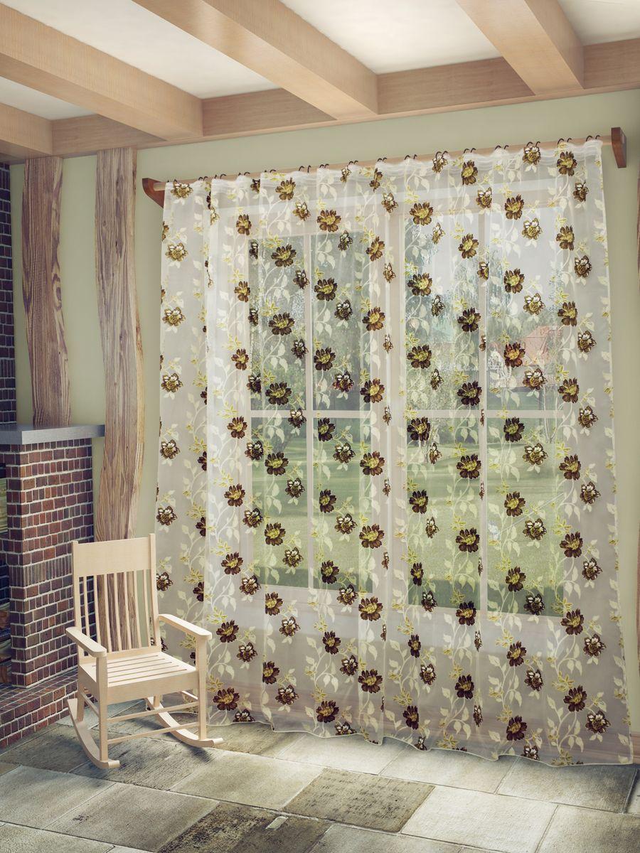Тюль Sanpa Home Collection Амира, на ленте, цвет: бежево-коричневый, высота 260 смHP8137/11/1E Амира бежево-коричневы, , 300*260 см