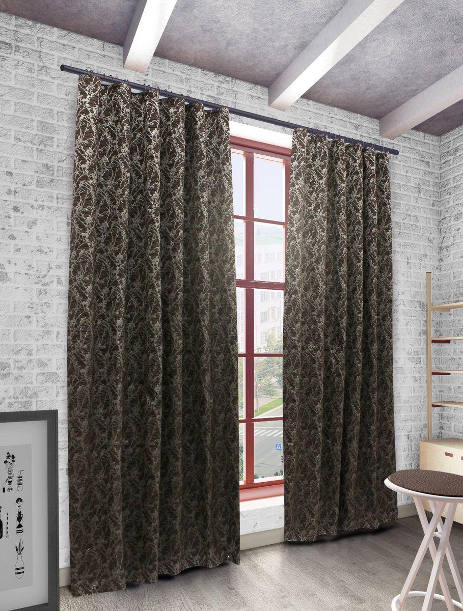 Штора Sanpa Home Collection Ванесса, на ленте, цвет: темно-коричневый, высота 270 смHP198560/2/1E Ванесса т.коричнев, , 200*270 см