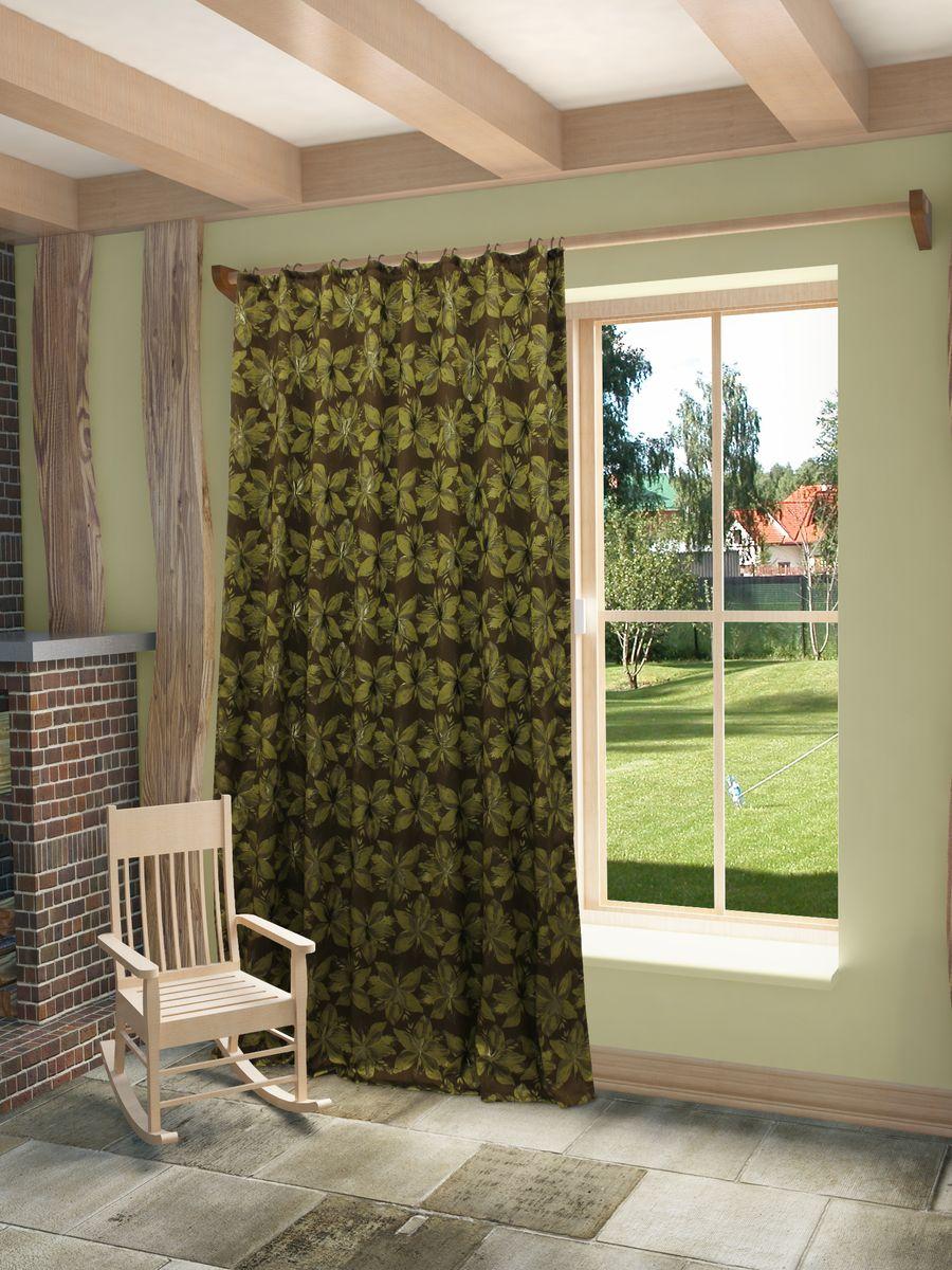 Штора Sanpa Home Collection  Хильда, на ленте, цвет: коричнево-зеленый, высота 260 смHP78530/3/1E Хильда коричнево-зеленый, , 180*260 см