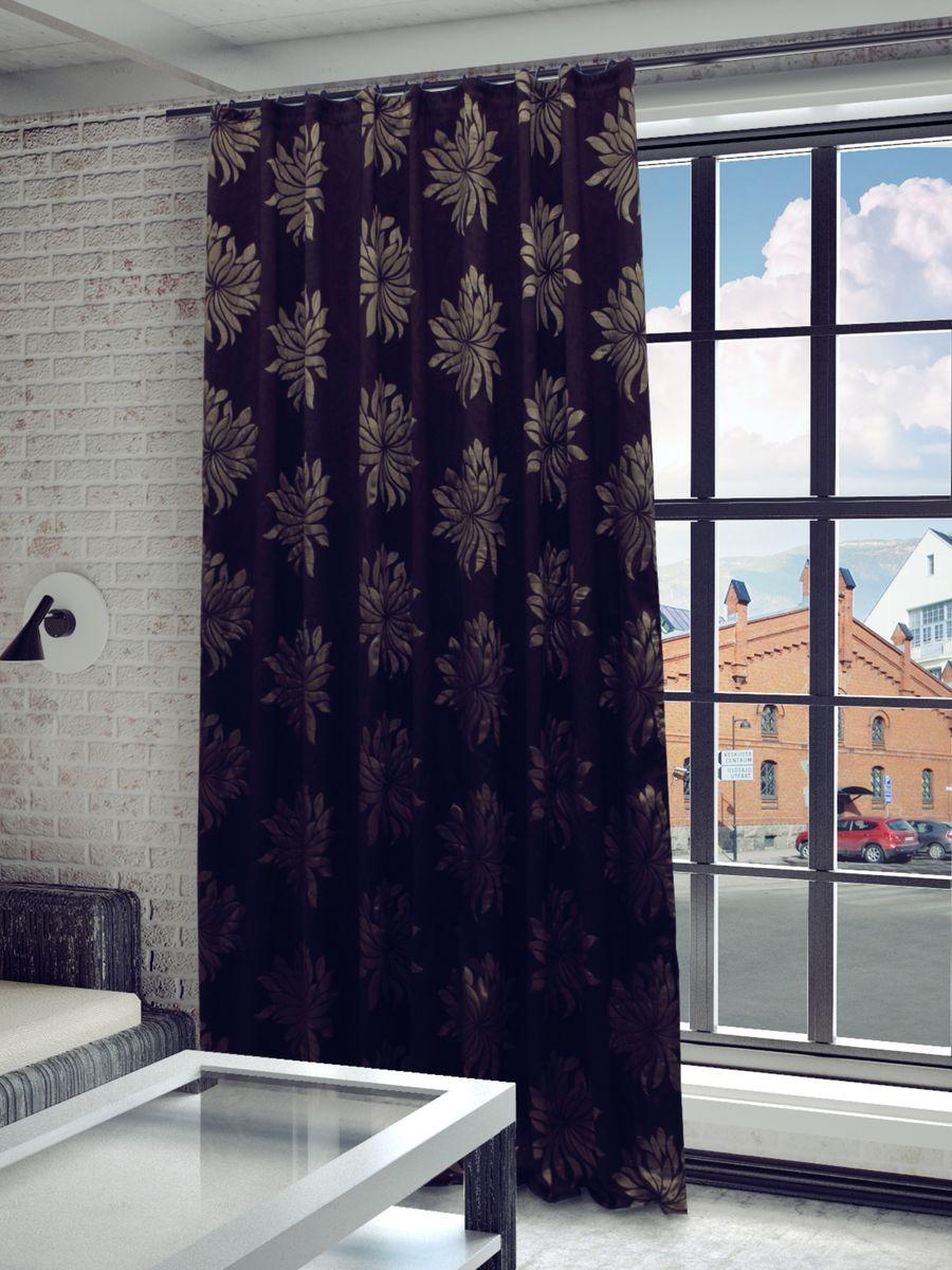 Штора Sanpa Home Collection Жаклин, на ленте, цвет: коричневый, высота 260 смHP3515/6706/1E Жаклин коричневый, , 200*260-1шт+подхват