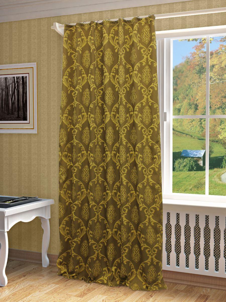Штора Sanpa Home Collection Нубия, на ленте, цвет: золотистый, высота 260 смHP1385/11/1E Нубия золотистый, , 150*260-1шт+подхват