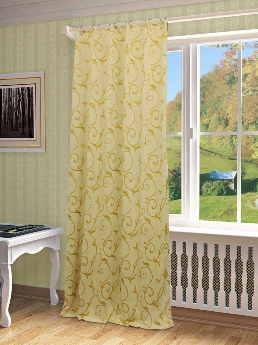 Штора Sanpa Home Collection Ханни, на ленте, цвет: золотистый, высота 260 смHP1363/3/1E Ханни золотистый, , 150*260-1шт+подхват