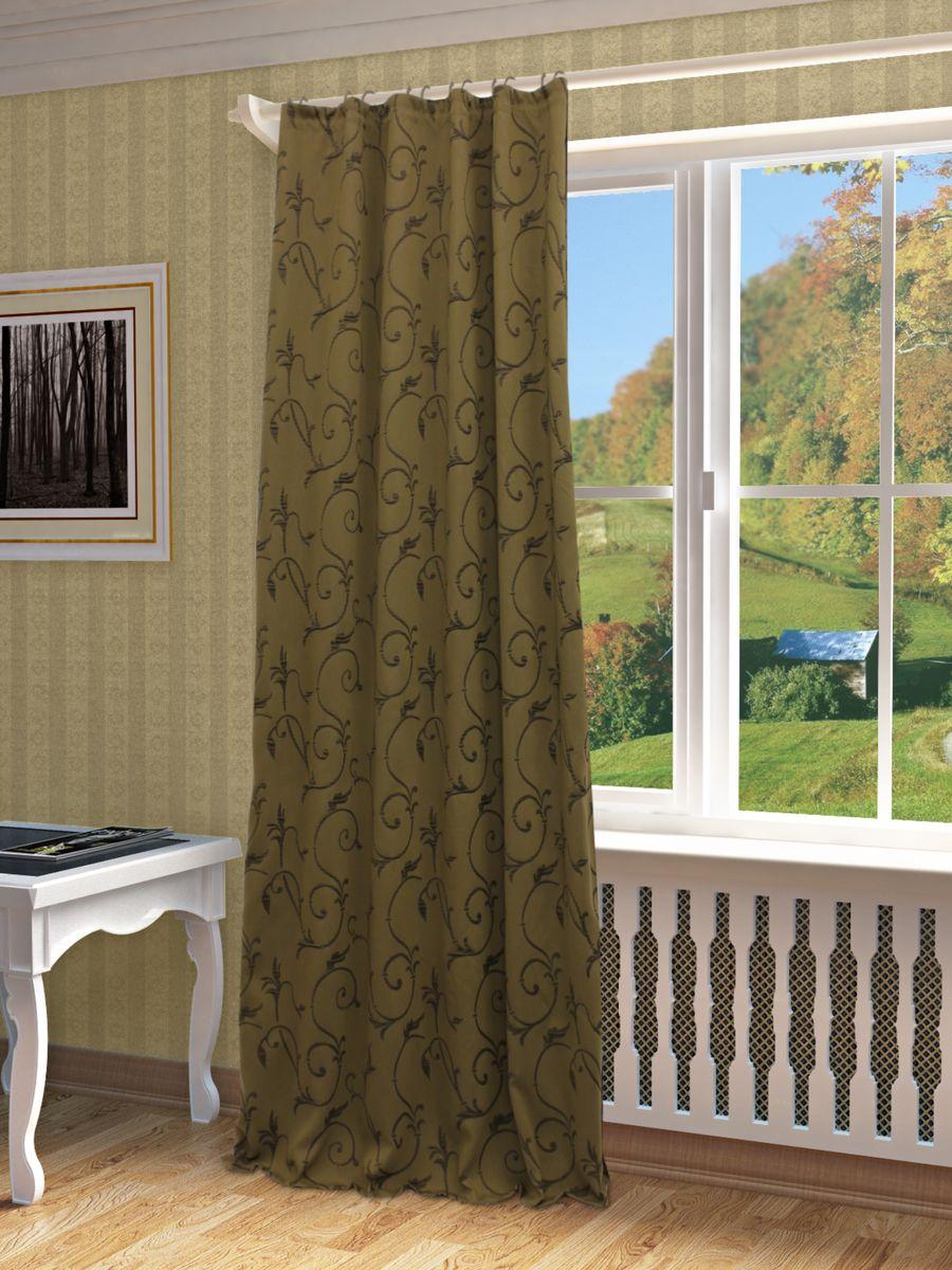 Штора Sanpa Home Collection Ханни, на ленте, цвет: коричневый, высота 260 смHP1363/5/1E Ханни коричневый, , 150*260-1шт+подхват