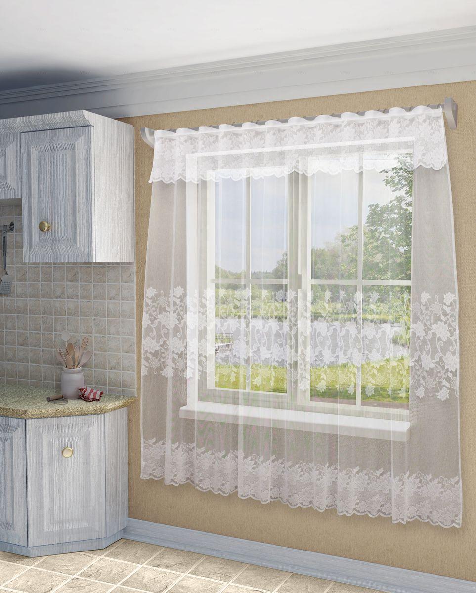 Тюль Sanpa Home Collection Амедея, на ленте, цвет: белый, высота 220 смHP18479/220/1E Амедея белый, , 300*220см+ламбрекен