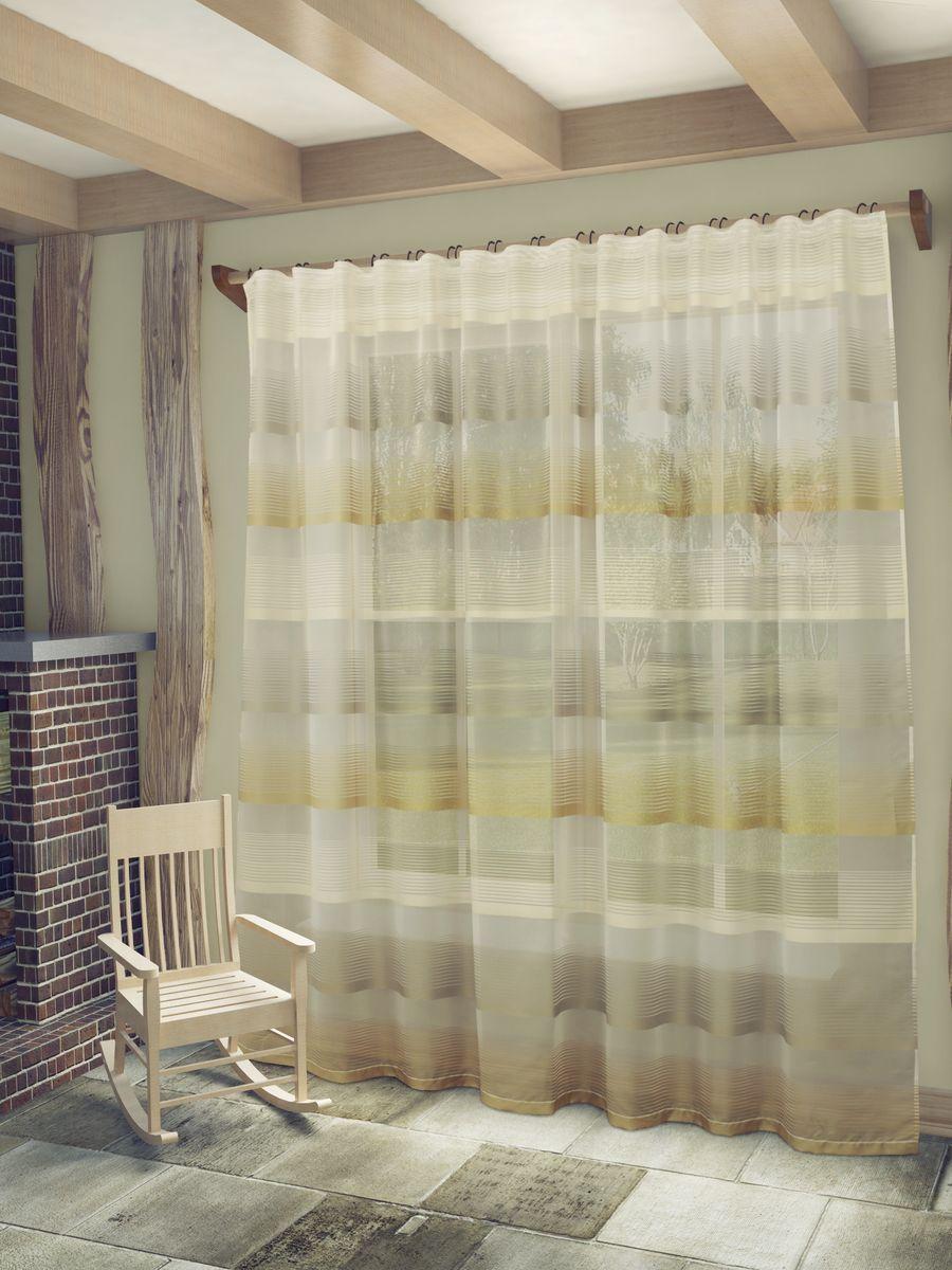 Тюль Sanpa Home Collection Лучиана, на ленте, цвет: бежевый, высота 255 смHP70592/1/1E Лучиана бежевый, , ш285*в255см
