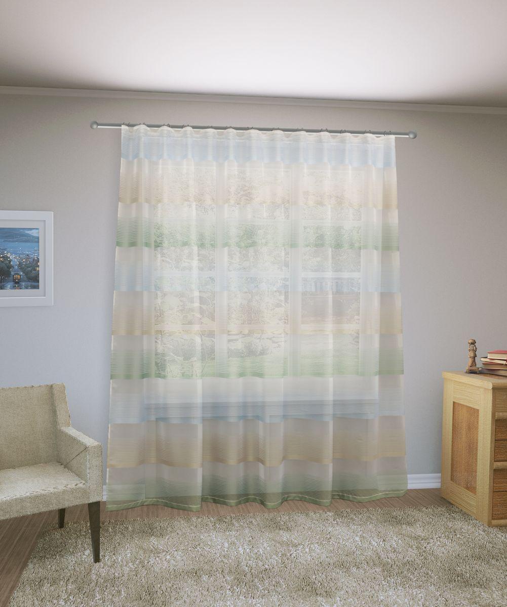 Тюль Sanpa Home Collection Лучиана, на ленте, цвет: зеленый, высота 255 смHP70592/6/1E Лучиана зеленый, , ш285*в255см