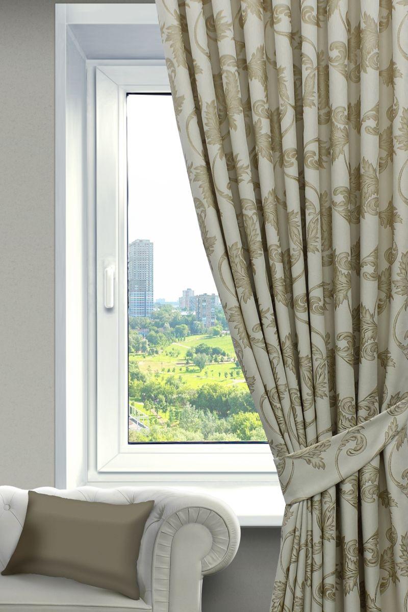 Комплект штор Sanpa Home Collection Дебора, на ленте, цвет: бежевый, золотистый, высота 260 смКШДЕБОРА(102) бежево-золотист, , 200*260см-2шт+подхваты