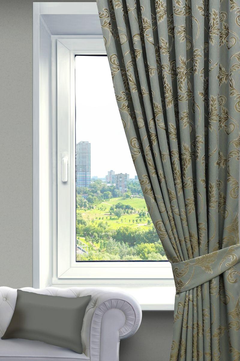 Комплект штор Sanpa Home Collection Дебора, на ленте, цвет: золотистый, бирюзовый, высота 260 смКШДЕБОРА(403) золотисто-бирюзовый, , 200*260см-2шт+подхваты