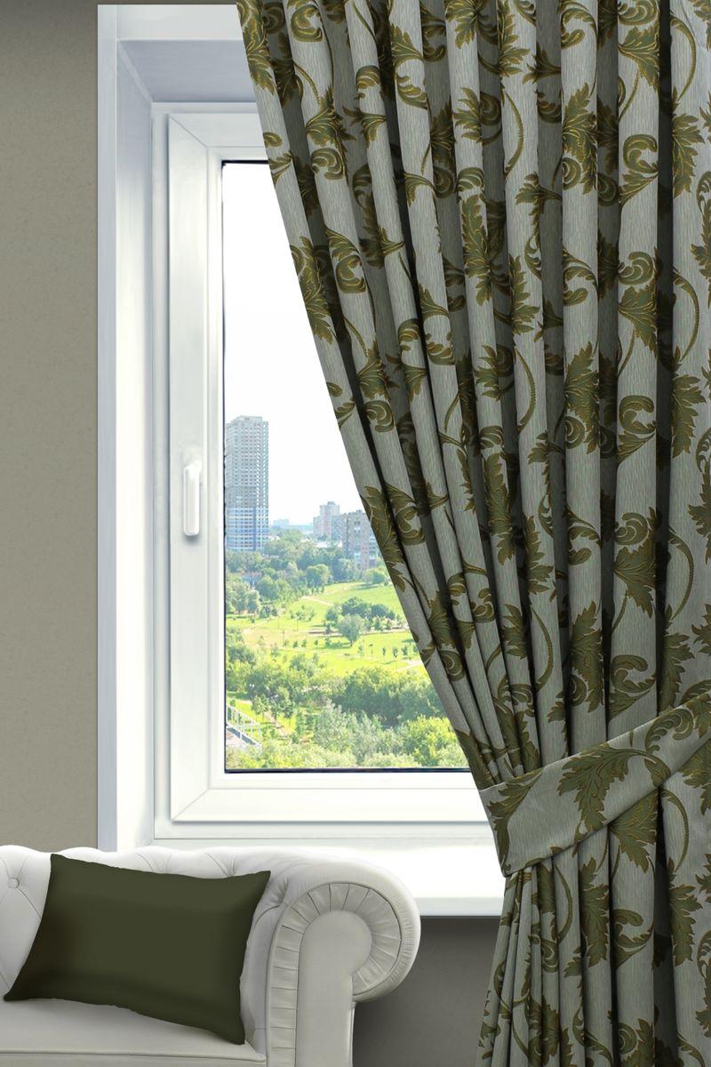 Комплект штор Sanpa Home Collection Дебора, на ленте, цвет: зеленый, высота 260 смКШДЕБОРА(701)зеленый, , 200*260см-2шт+подхваты