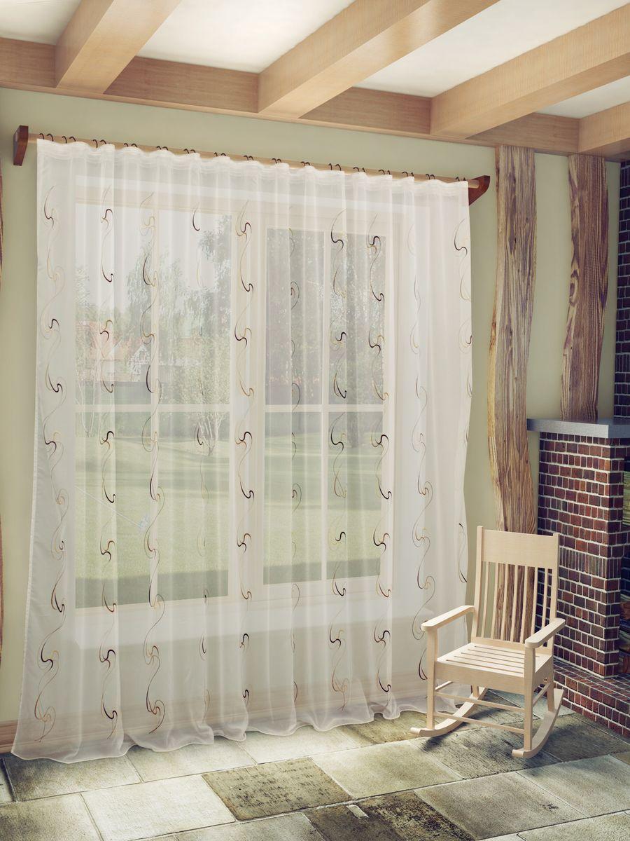 Тюль Sanpa Home Collection Джози, на ленте, цвет: коричневый, высота 260 смHP48612/3/1E Джози коричневый, , 300*260 см