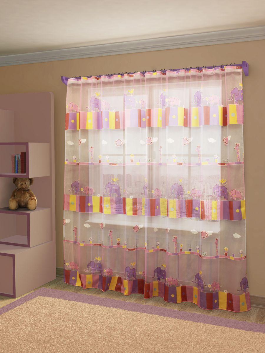 Тюль Sanpa Home Collection Эльфина, на ленте, цвет: розово-фиолетовый, высота 260 смHP8115/5/1E Эльфина розово-фиолетов, , 300*260 см