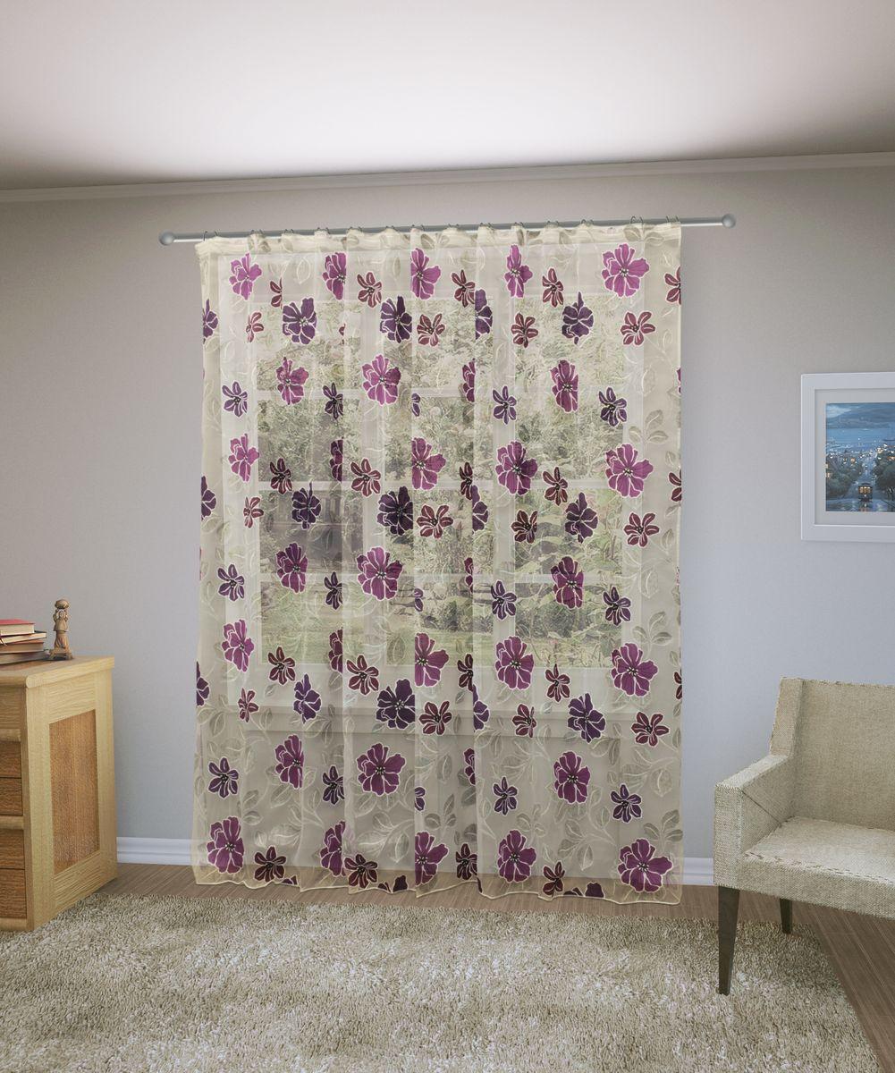 Тюль Sanpa Home Collection Юдора, на ленте, цвет: фиолетовый, высота 260 смHP6119/23/1E Юдора фиолетовый, , 300*260 см