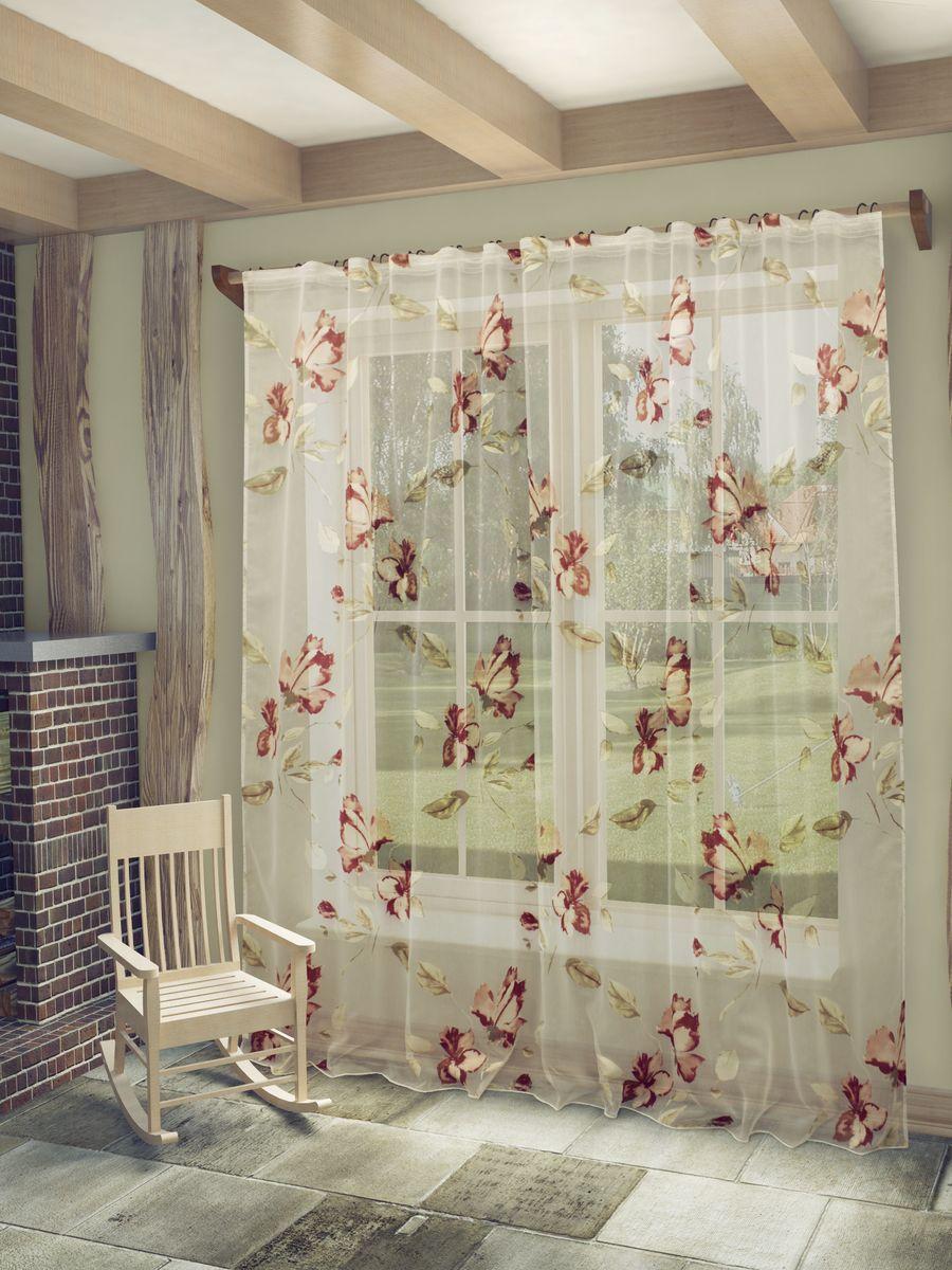 Тюль Sanpa Home Collection Офелия, на ленте, цвет: бордовый, высота 260 смHP9238/6/1E Офелия бордовый, , 300*260 см