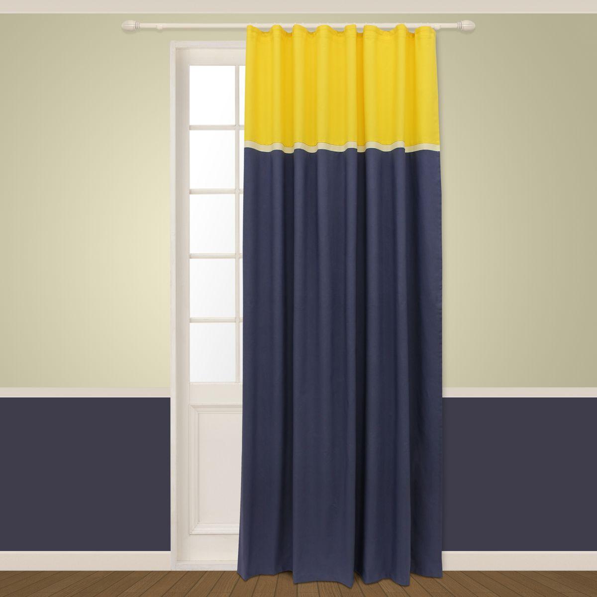 Штора Sanpa Home Collection Меланта, на ленте, цвет: желтый, синий, высота 260 смHP5450v20256/20466 Меланта желто-синий, , 180*260 см
