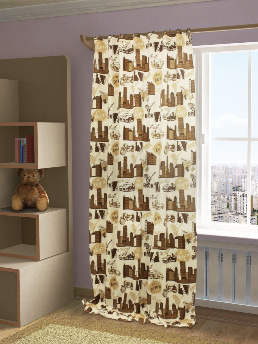 Штора Sanpa Home Collection Рокси, на ленте, цвет: коричневый, высота 280 смHP4068/3/1E Рокси коричневый, , 150*280 см