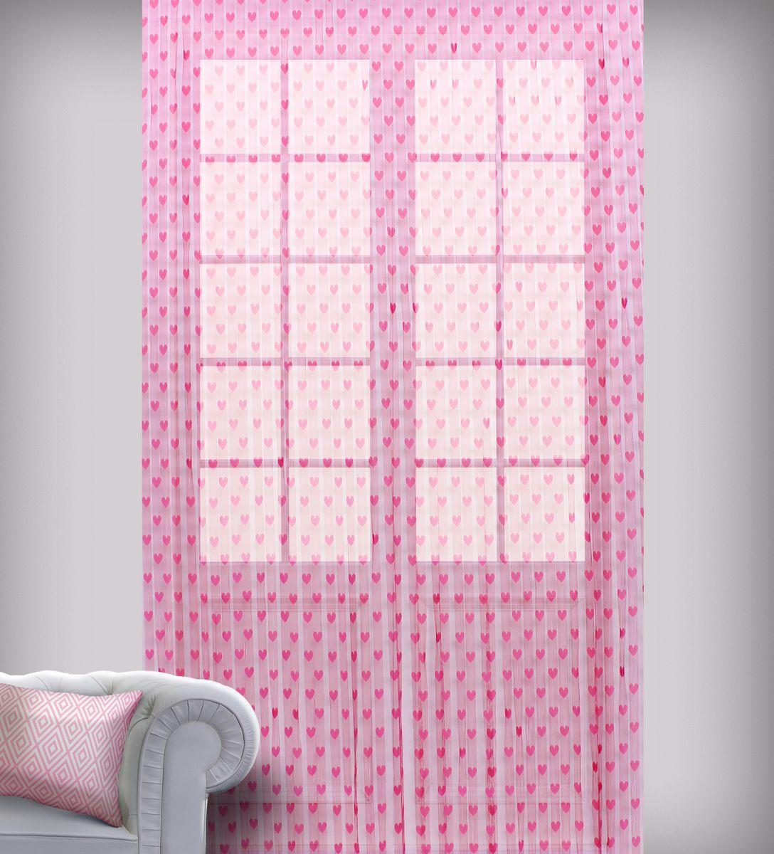 Штора нитяная Sanpa Home Collection, на ленте, цвет: розовый, высота 290 см. SP105SP 105/PINK, , 150*290 см